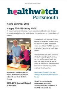 Image of Healthwatch Portsmouth newseletter summer 2018