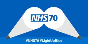 NHS70 light up blue logo