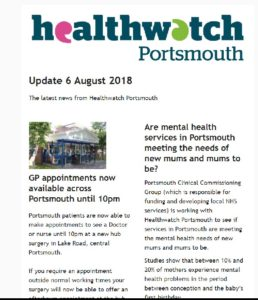 Image of Healthwatch Portsmouth August update
