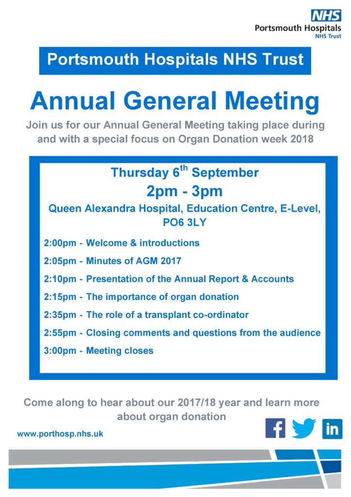 image of Portsmouth Hospitals NHS Trust AGM flyer