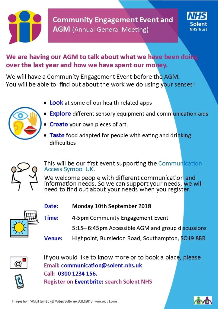 Solet NHS Trust AGM and engagement event flyer 10 September 2018