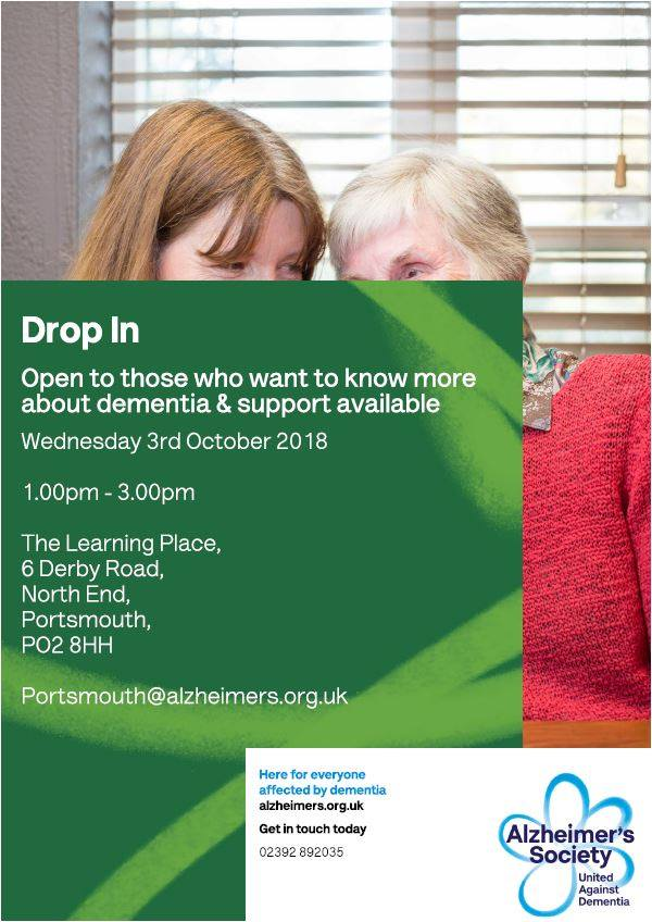 Alzheimers Society drop-in 3 October 2018 flyer