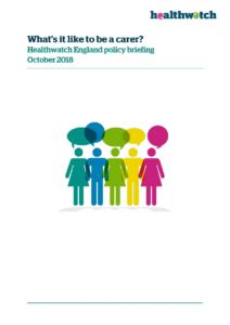 Cover from Healthwatch England report Whats it like to be a carer?