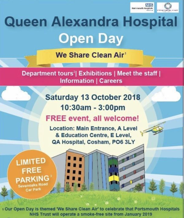 Queen Alexandra Hospital Portsmouth open day 13 October 2018 poster