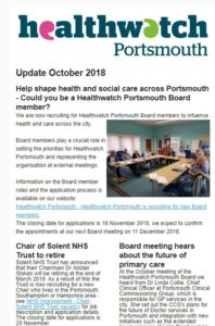 Healthwatch Portsmouth October 2018 update