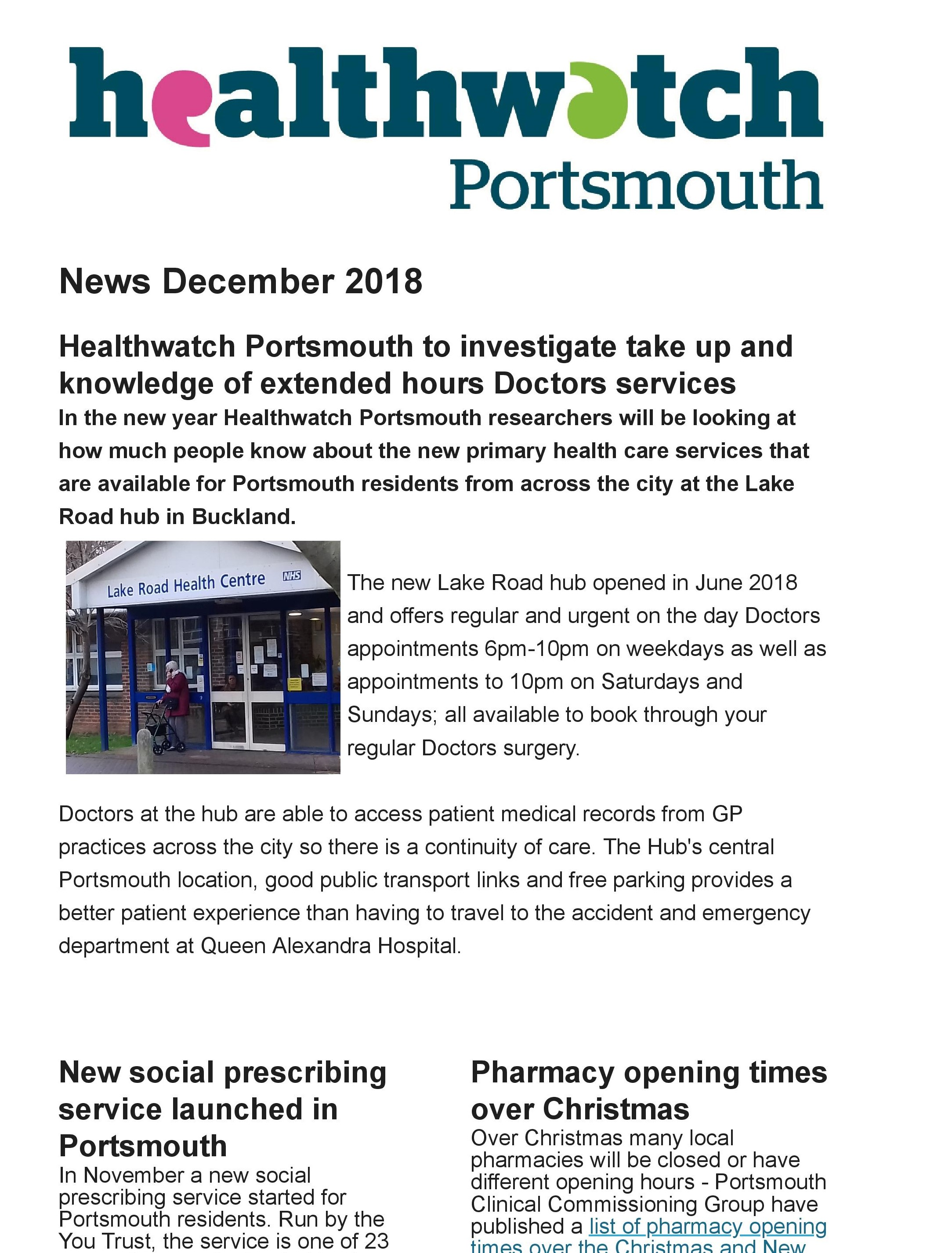 Healthwatch Portsmouth Winter 2018 news