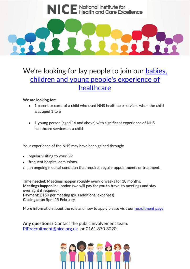 NICE babies, children and young peoples experience of healthcare guideline committee recruitment poster