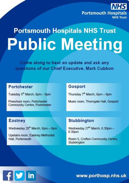 Portsmouth Hospitals NHS Trust public meeting flyer 20 March 2019