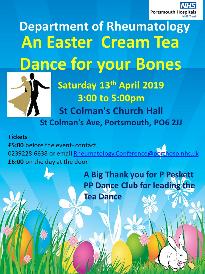 QA Department of Rheumatology cream tea dance flyer