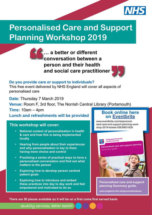 NHS Persoanlised care and support workshop Portsmouth 7 March 2019 flyer