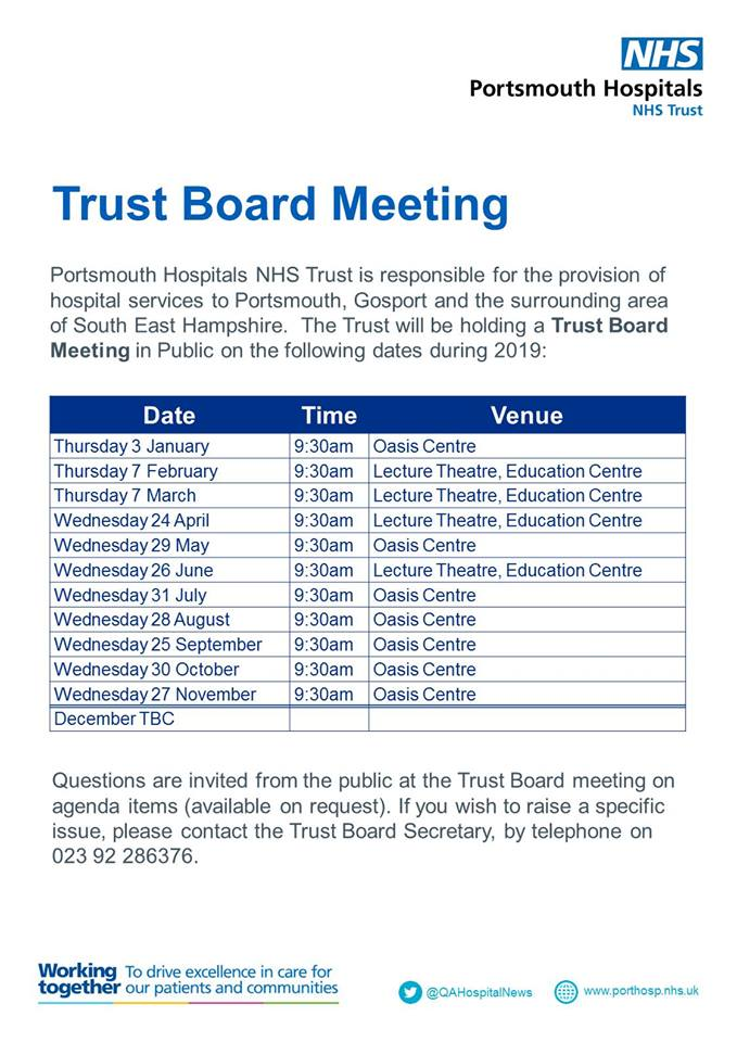 Portsmouth Hospitals NHS Trust Board meetings flyer